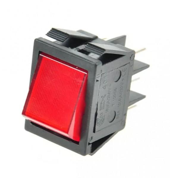 Wippenschalter 2 Polig rot fuer Heisswasser 16A 250V 0